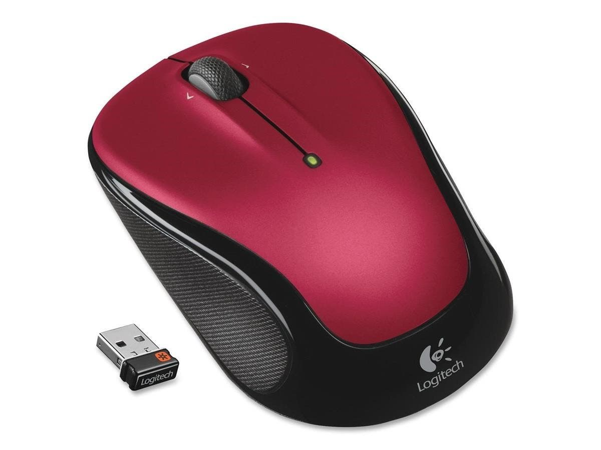 Logitech M325 Mouse - Optical - Wireless - Radio Frequency - Red - USB - 1000 dpi - Computer - Scroll Wheel - 2 Button(s) - Symmetrical