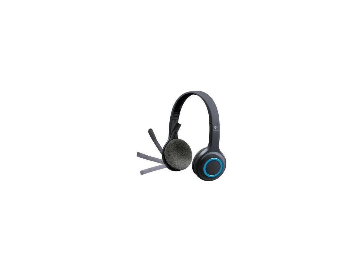 Logitech H600 Headset - Stereo - Blue, Black - Wireless - 32.8 ft - Over-the-head - Binaural - Ear-cup - Noise Cancelling Microphone-Large-Image-1