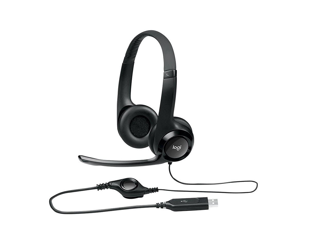 Logitech USB Headset H390 - Stereo - Black, Silver - USB - Wired - 20 Hz - 20 kHz - Over-the-head - Binaural - Circumaural - 8 ft Cable - Noise Cancelling Microphone