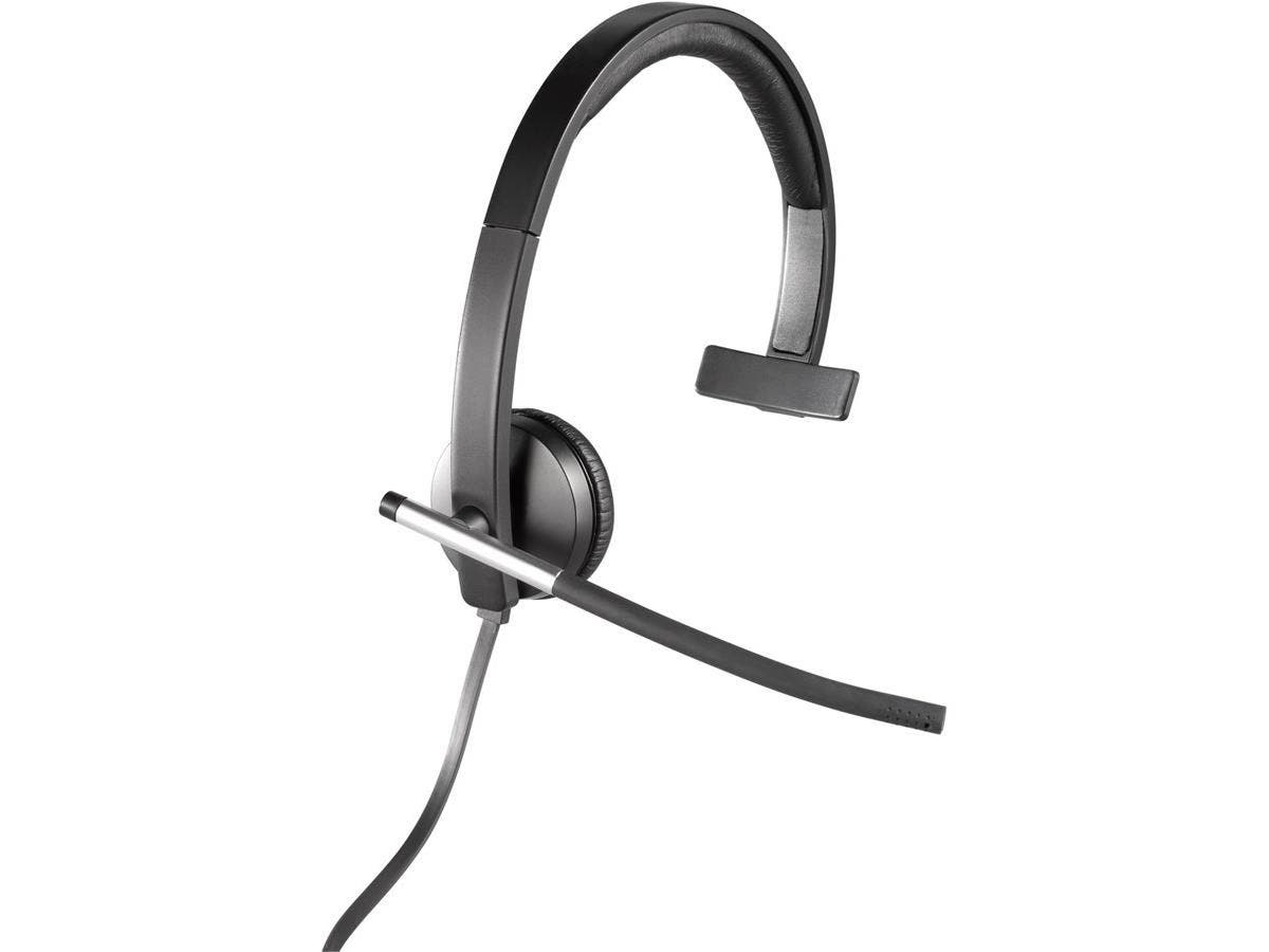 Logitech USB Headset Mono H650e - Mono - USB - Wired - 50 Hz - 10 kHz - Over-the-head - Monaural - Supra-aural - Noise Cancelling Microphone-Large-Image-1