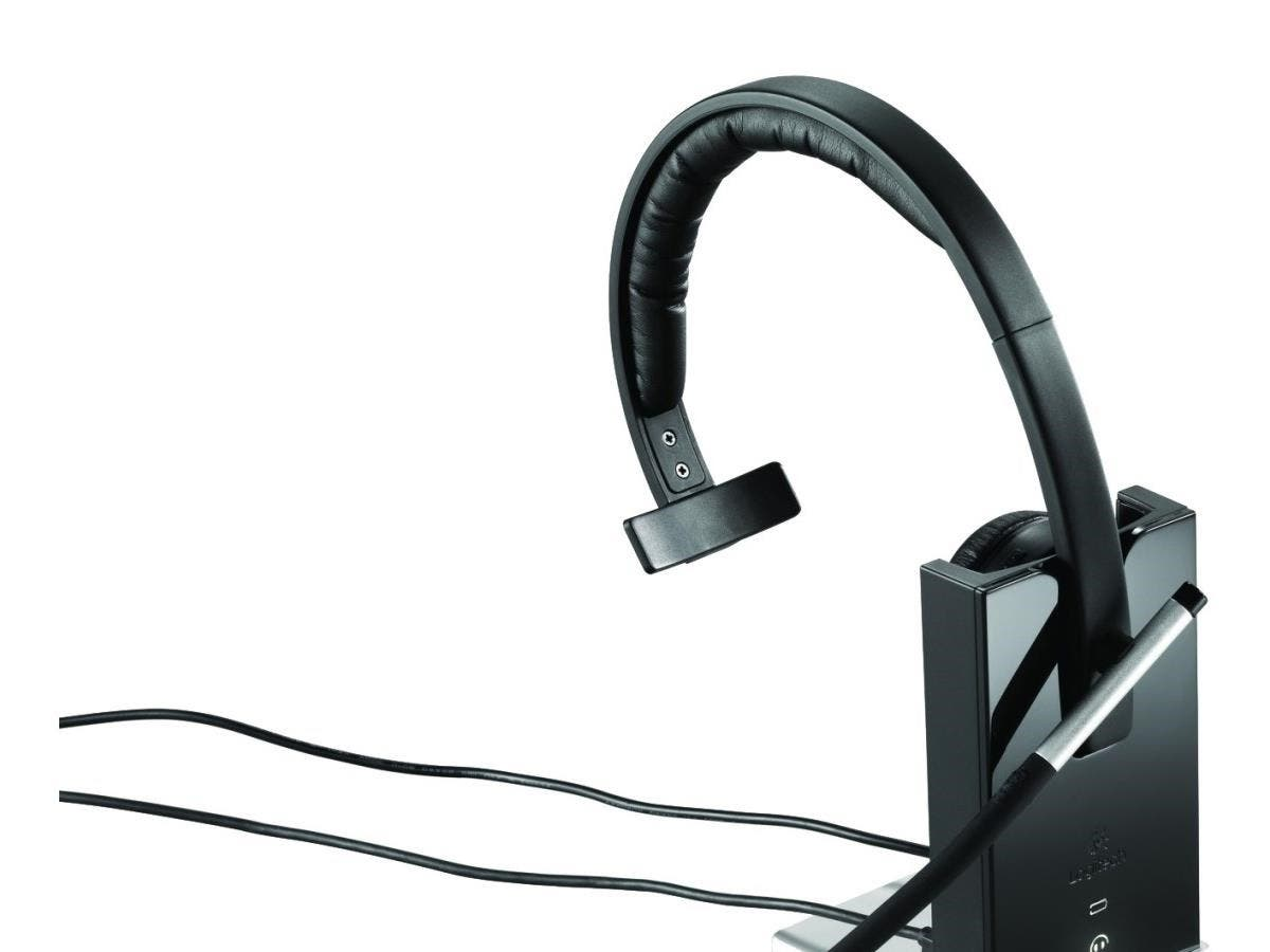 Logitech Wireless Headset Mono H820e - Mono - Wireless - DECT - 328.1 ft - 150 Hz - 7 kHz - Over-the-head - Monaural - Supra-aural - Electret Microphone-Large-Image-1