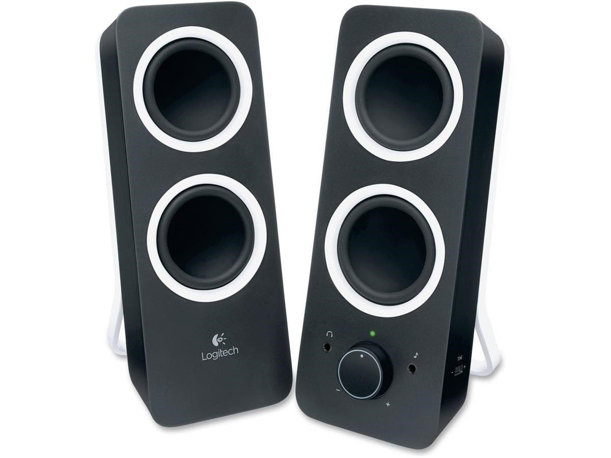 Logitech 2.0 Speaker System - Black - LED Indicator, Volume Control, Bass Control-Large-Image-1