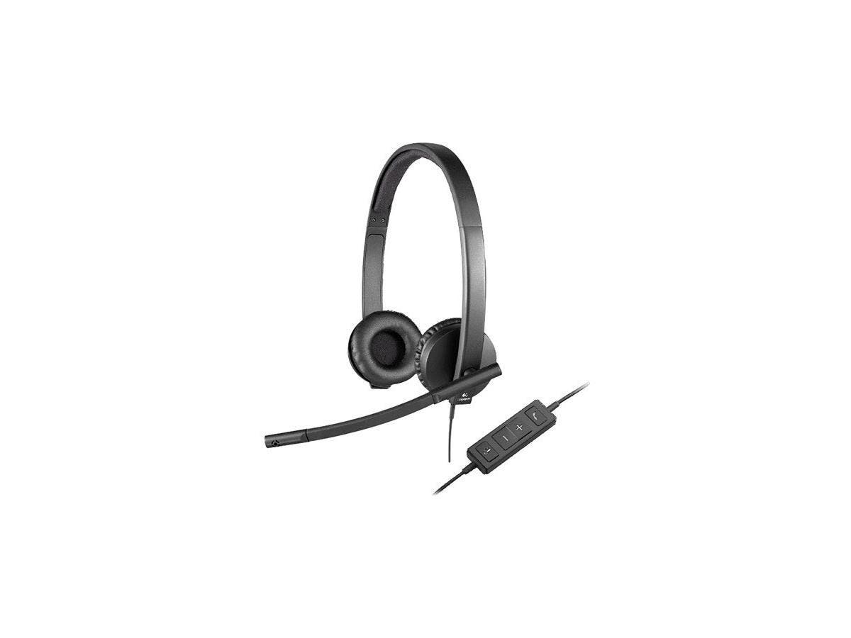 Logitech USB Headset Stereo H570e - Stereo - USB - Wired - 31.50 Hz - 20 kHz - Over-the-head - Binaural - Supra-aural - Noise Cancelling, Electret Microphone-Large-Image-1