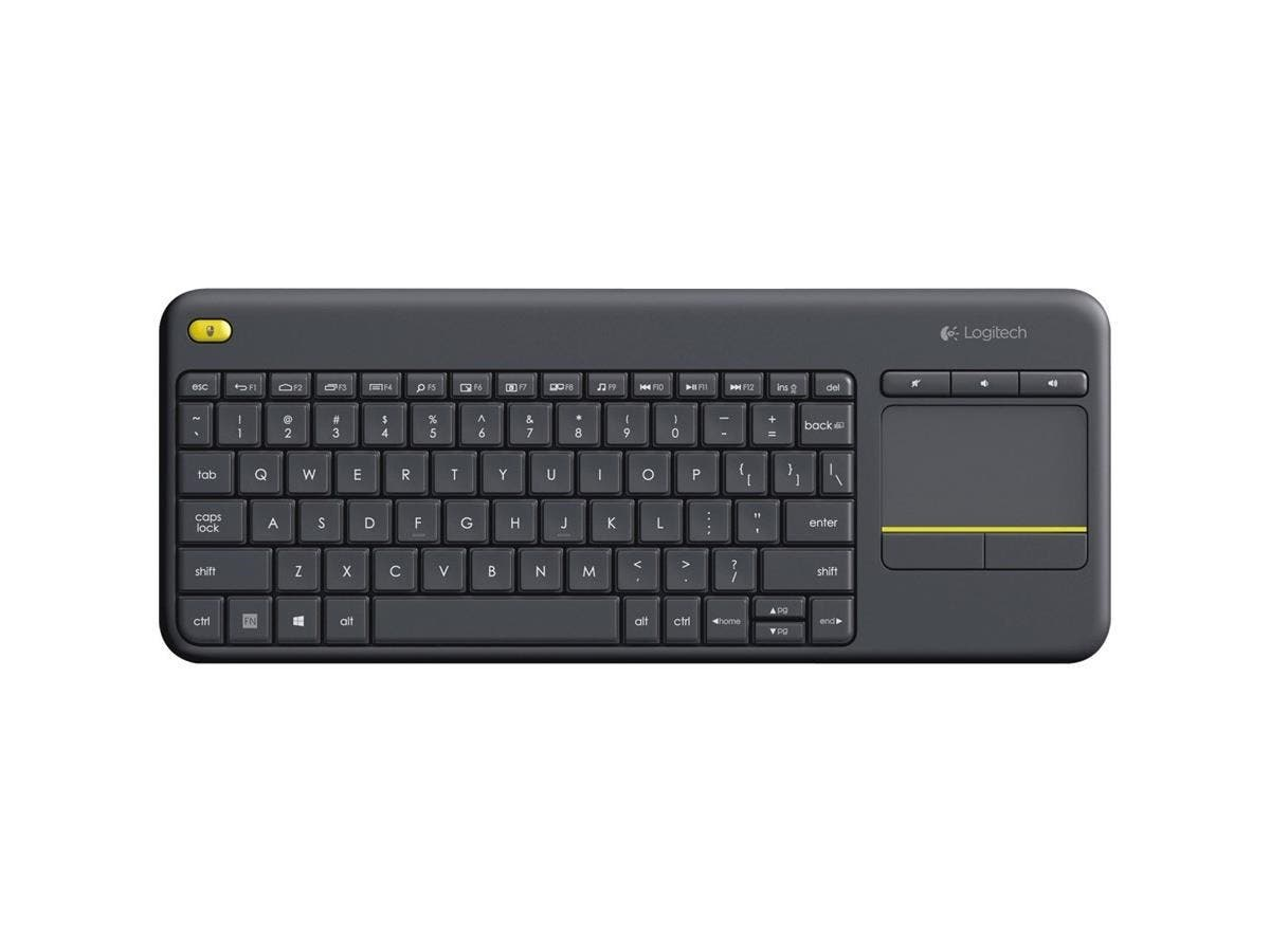 Logitech Wireless Touch Keyboard K400 Plus - Wireless Connectivity - USB InterfaceTouchPad - Compatible with Smart TV, Computer - Mute, Volume Up, Volume Down Hot Key(s) - QWERTY Keys Layout - Black-Large-Image-1