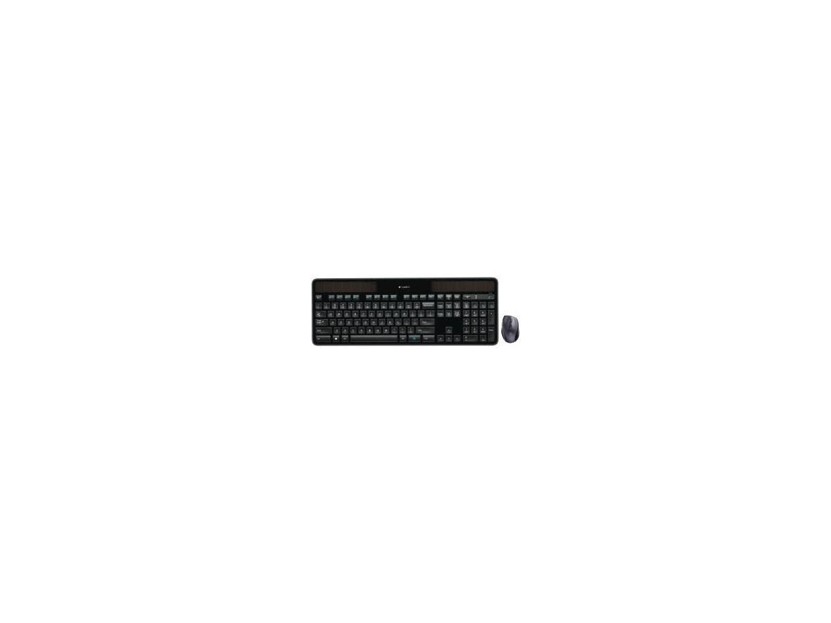 Logitech Wireless Solar Keyboard & Marathon Mouse Combo MK750 - USB 2.0 Wireless RF USB 2.0 Wireless RF Laser - 1000 dpi - Tilt Wheel - On/Off Switch Hot Key(s) - Button Cell, AA