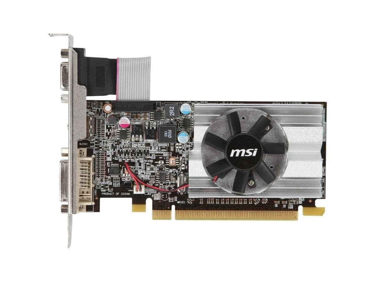 MSI R6450-MD1GD3/LP Radeon HD 6450 Graphic Card - 625 MHz Core - 1 GB DDR3 SDRAM - PCI Express 2.1 x16 - Low-profile - 1333 MHz Memory Clock - 64 bit Bus Width - 2560 x 1600 - CrossFire - Fan Cooler --Large-Image-1