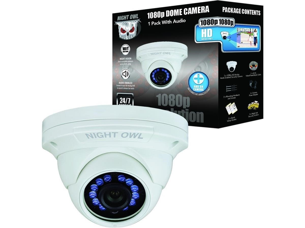 Night Owl CM-HDA10W-DMA 2 Megapixel Surveillance Camera - 1 Pack - Color - 100 ft - 1920 x 10803.60 mm - Cable - Dome