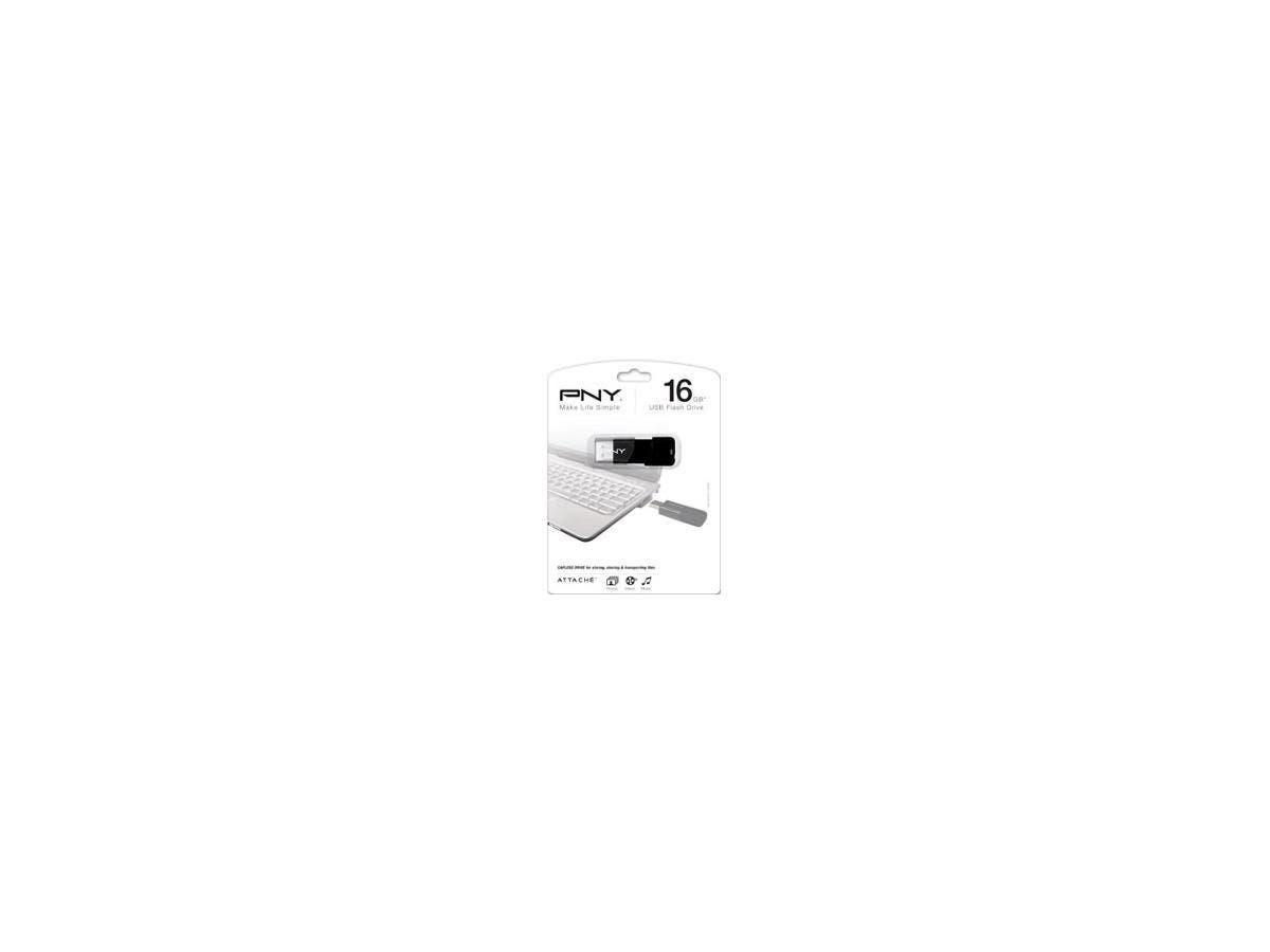 PNY 16GB Attaché USB 2.0 Flash Drive - 16 GB - USB 2.0 - Black - ReadyBoost-Large-Image-1