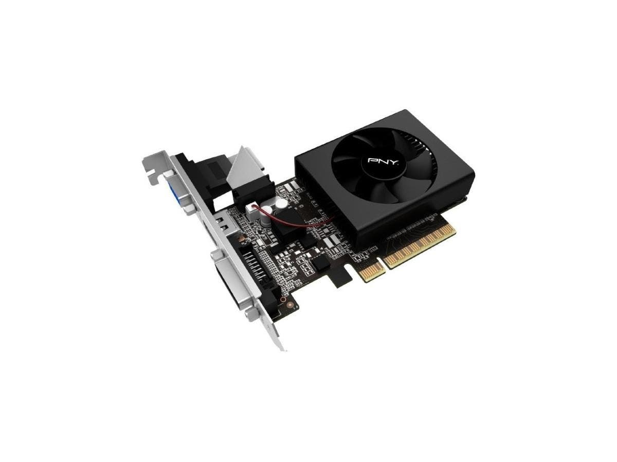 PNY GeForce GT 710 Graphic Card - 954 MHz Core - 1 GB DDR3 SDRAM - PCI Express 2.0 x8 - Low-profile - Single Slot Space Required - 64 bit Bus Width - Fan Cooler - OpenGL 4.5, OpenCL, DirectX 12 - 1 x -Large-Image-1