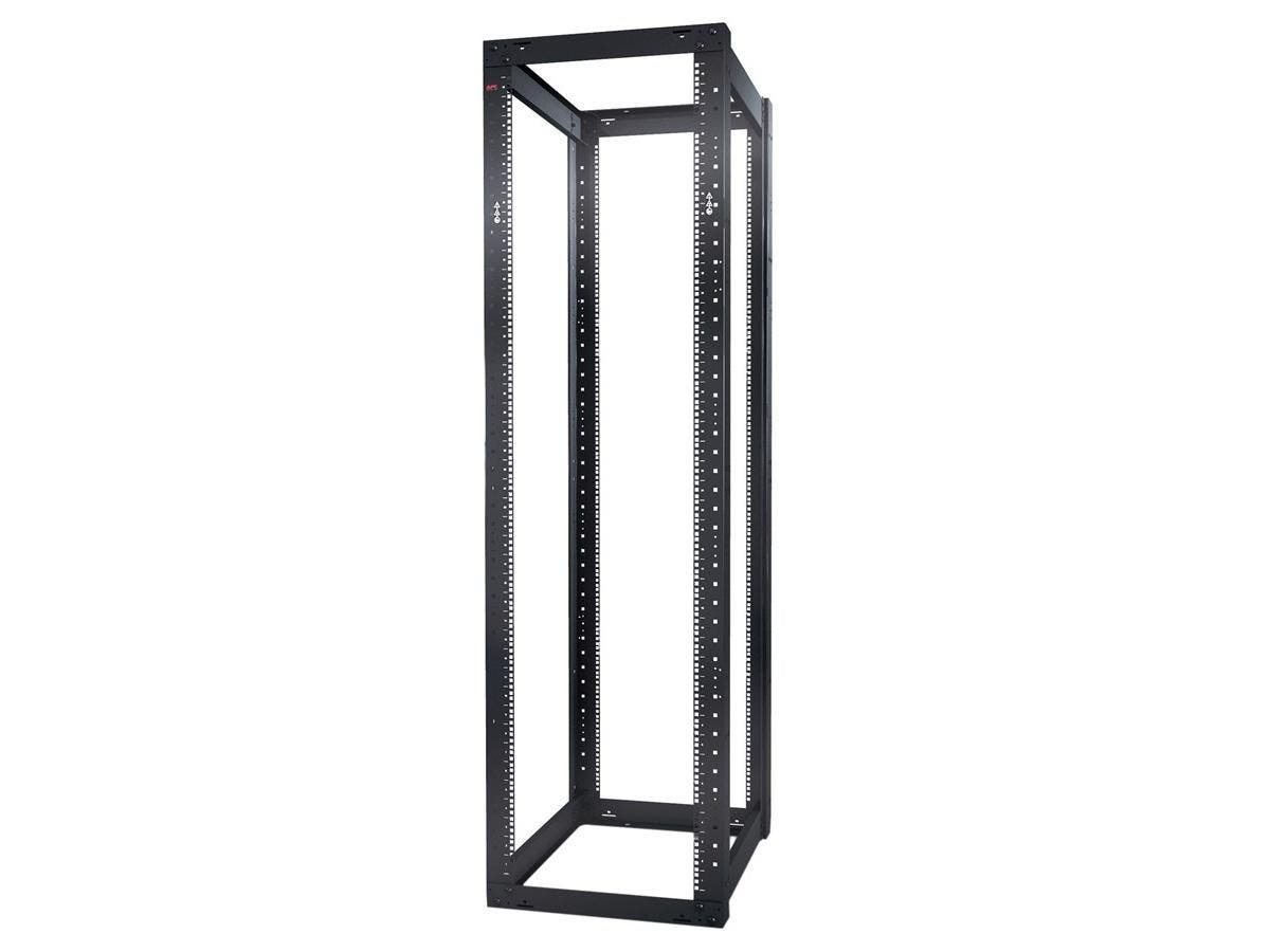"Schneider Electric NetShelter 4 Post Open Frame Rack 44U Square Holes - 19"" 44U Wide Floor Standing - Black - 2004.20 lb x Static/Stationary"