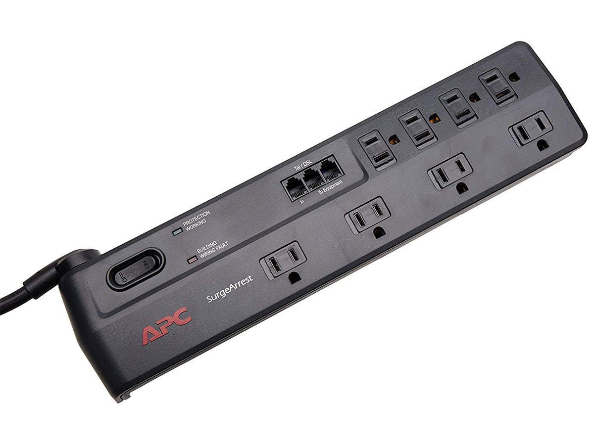 APC SurgeArrest Home/Office P8T3-LM 8-Outlets Surge Suppressor - 8 x NEMA 5-15R - 1750 J - 120 V AC Input - 120 V AC Output-Large-Image-1