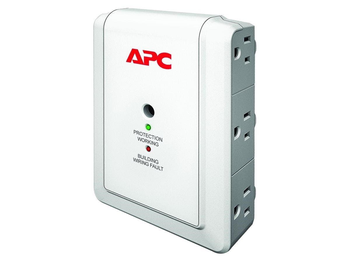 APC SurgeArrest Essential P6WT 6-Outlets Surge Suppressor - 6 x NEMA 5-15R - 1080 J - 120 V AC Input - 120 V AC Output - Fax/Modem-Large-Image-1