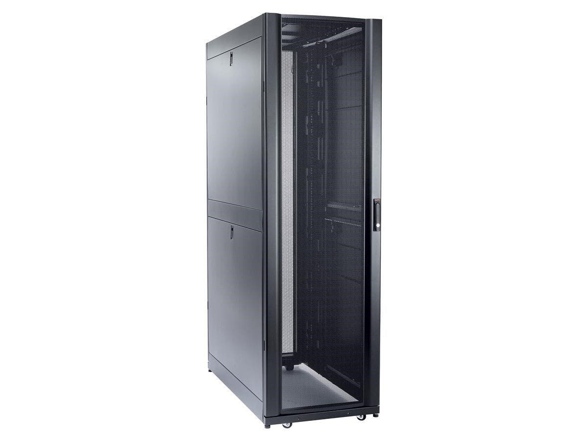 "Schneider Electric NetShelter SX 48U 600mm Wide x 1200mm Deep Enclosure - 19"" 48U Wide Floor Standing for Server - Black - 2254.73 lb x Dynamic/Rolling Weight Capacity - 3006.31 lb"
