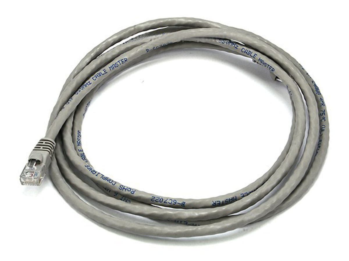 7ft 24AWG Cat6 500MHz Crossover Bare Copper Ethernet Network Cable - Gray