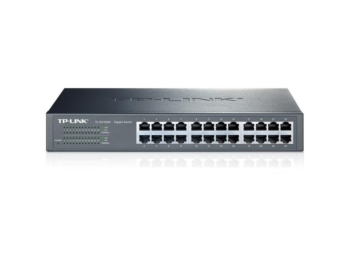 TP-LINK TL-SG1024D 10/100/1000Mbps 24-Port Gigabit 13-inch Rackmountable Switch, 48Gbps Capacity - 24 Ports - 24 x RJ-45 - 10/100/1000Base-T