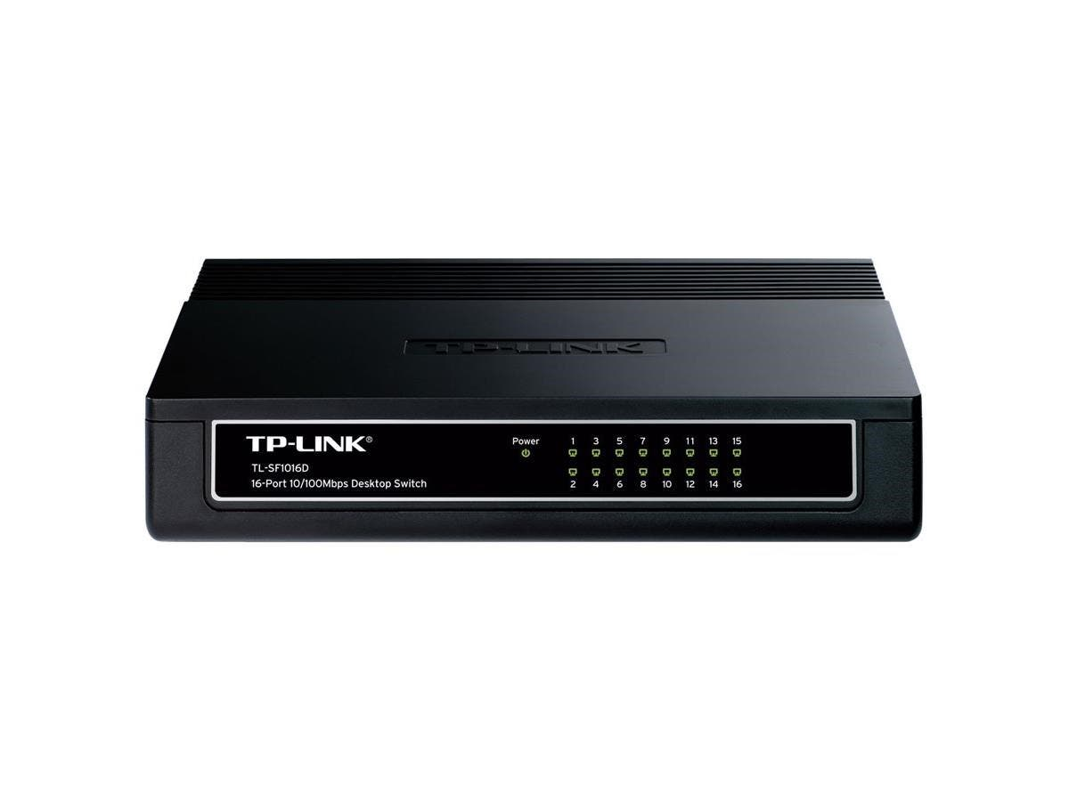 "TP-LINK TL-SF1016D 16-Port 10/100Mbps Desktop Switch, 3.2Gbps Capacity - 16 Ports - 16 x RJ-45 - 10/100Base-TX - Desktop, Wall Mountable""-Large-Image-1"