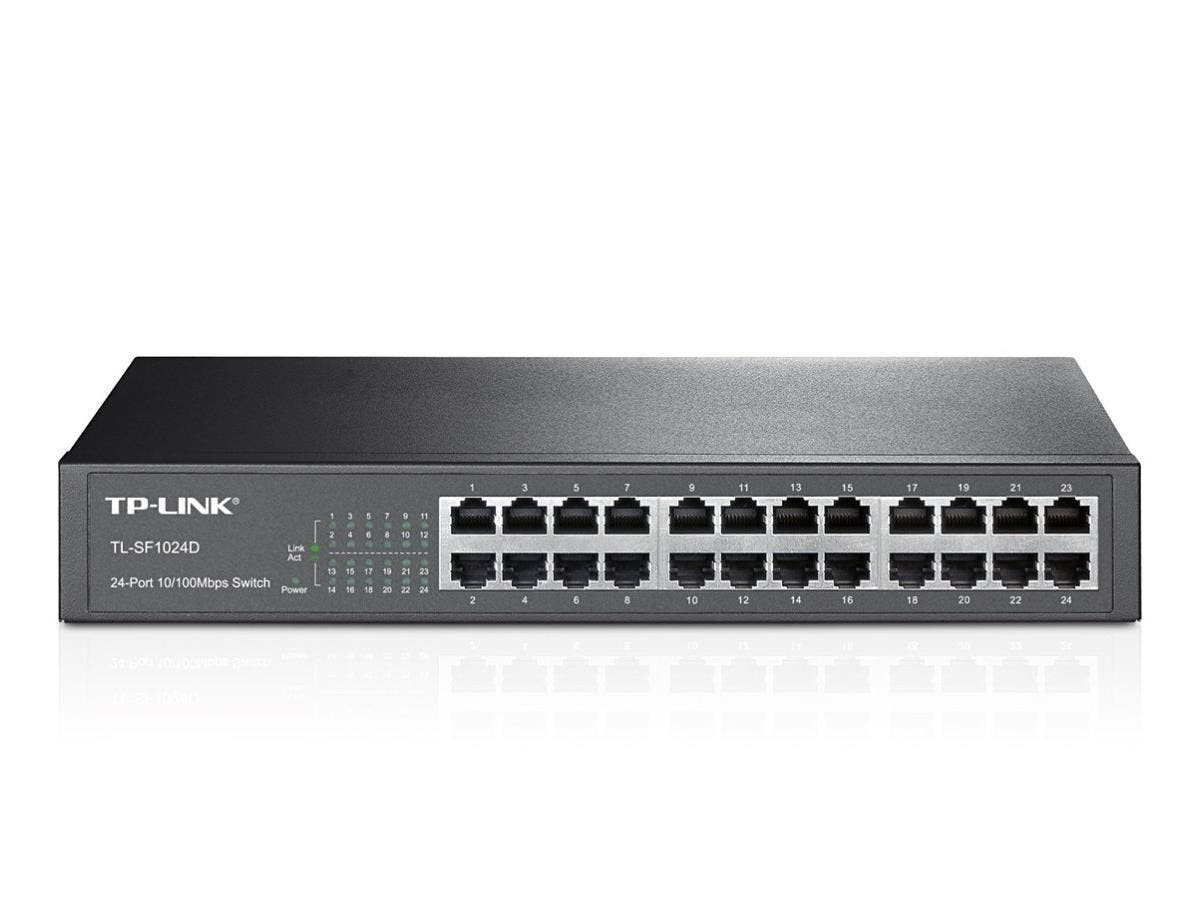 TP-LINK TL-SF1024D 24-Port 10/100Mbps, Switch, 13-inch, Rackmount, 4.8Gbps Capacity - 24 Ports - 24 x RJ-45 - 10/100Base-TX - Desktop, Rack-mountable""