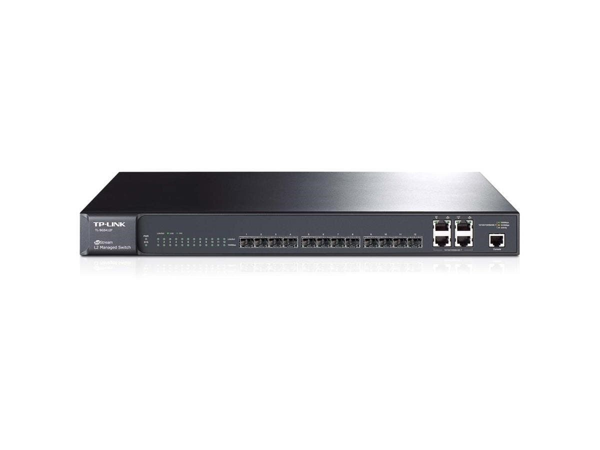 "TP-LINK TL-SG5412F 12-port Pure-Gigabit L2 Managed Switch, 12 Gigabit SFP slots, 4 Combo Gigabit LAN ports - Manageable - 12 x Expansion Slots - 10/100/1000Base-T - Desktop, Rack-mountable""-Large-Image-1"