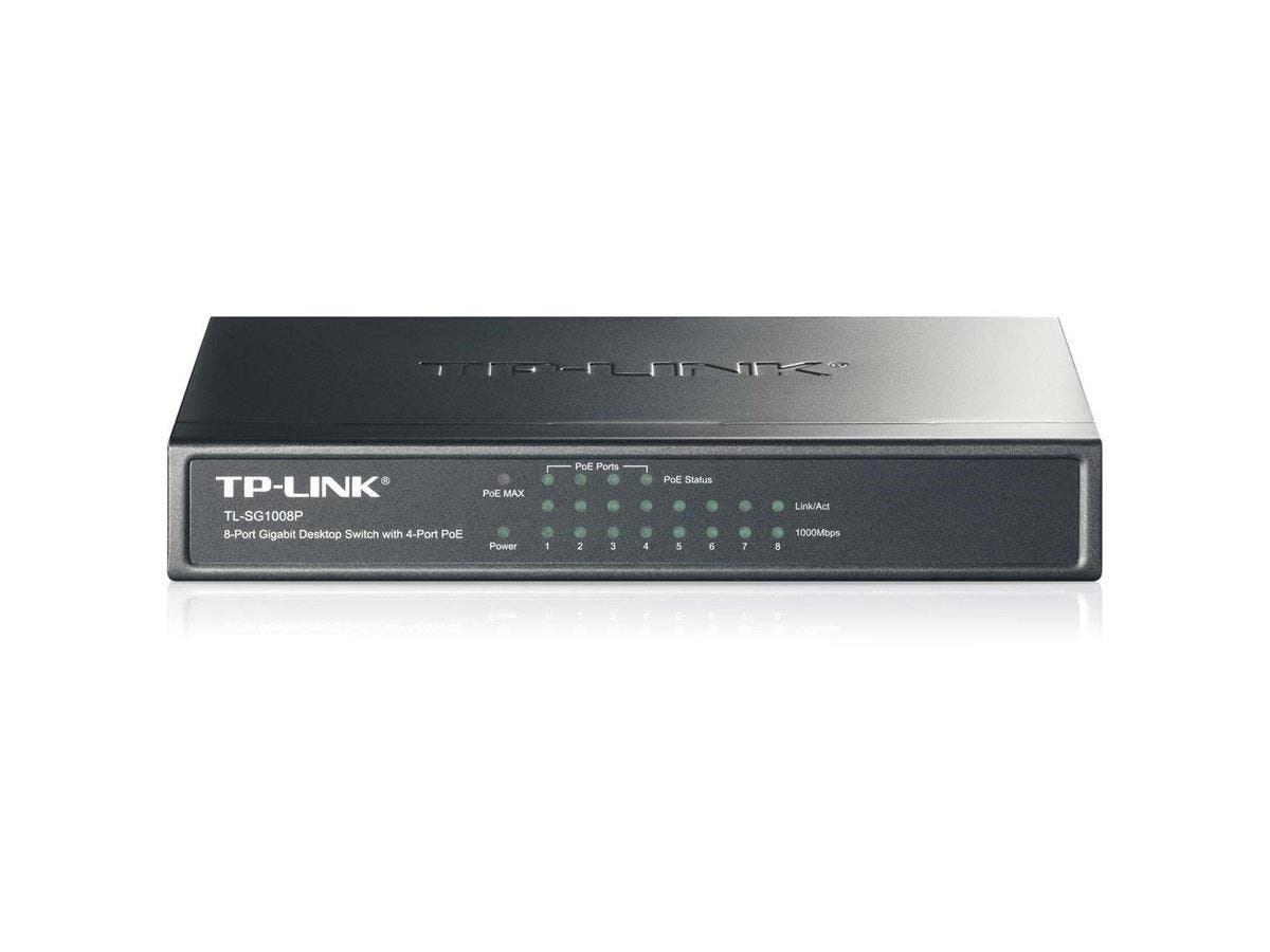 TP-LINK TL-SG1008P 8-Port Gigabit Desktop POE Switch with 4 PoE Ports - 8 Ports - 4 x POE - 4 x RJ-45 - 10/100/1000Base-T - Desktop