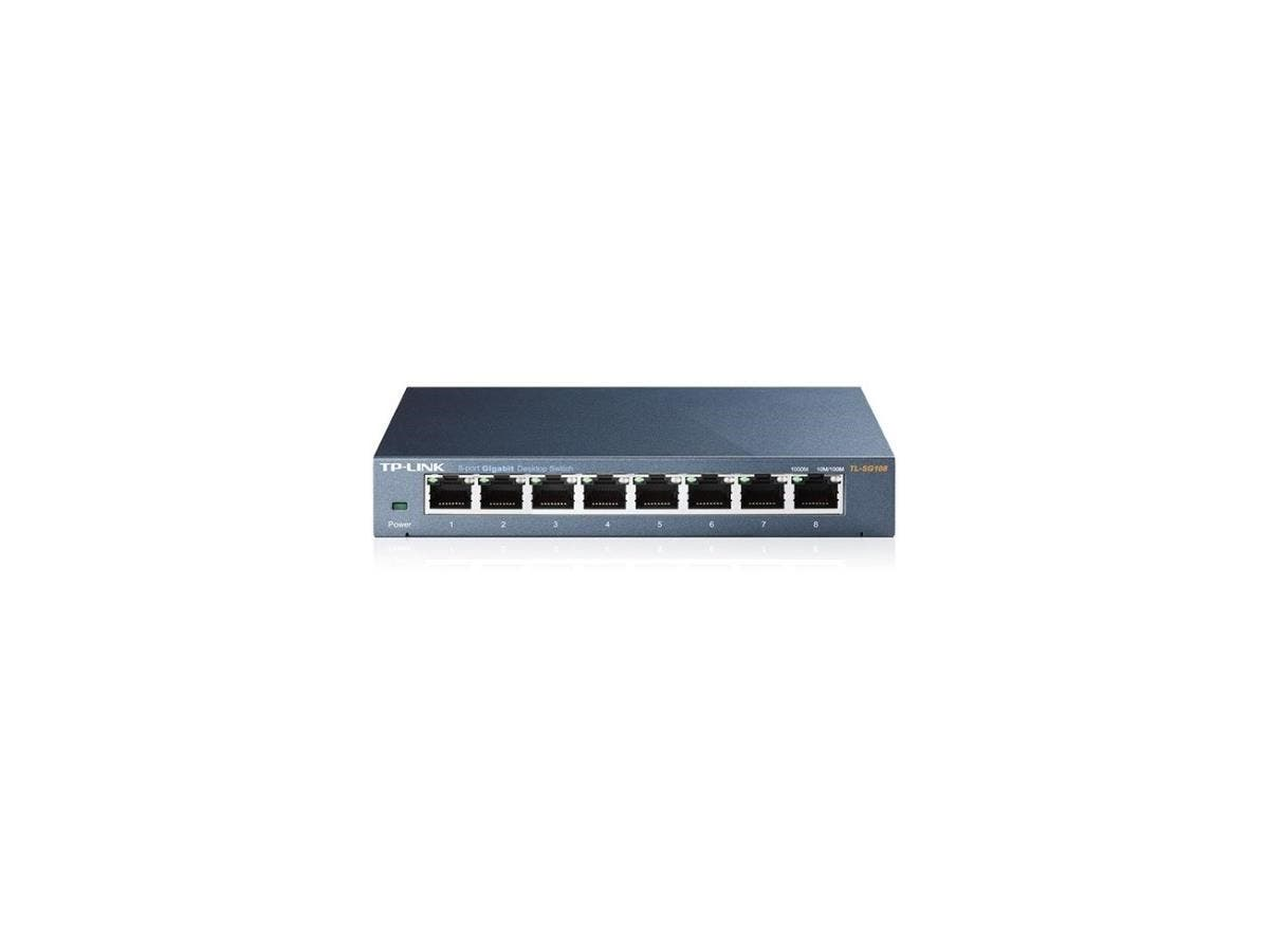 TP-LINK TL-SG108 8-Port 10/100/1000Mbps Desktop Gigabit Steel Cased Switch, IEEE 802.1p QoS, Up to 72% Power Saving - 8 Ports - 10/100/1000Base-T - Desktop-Large-Image-1