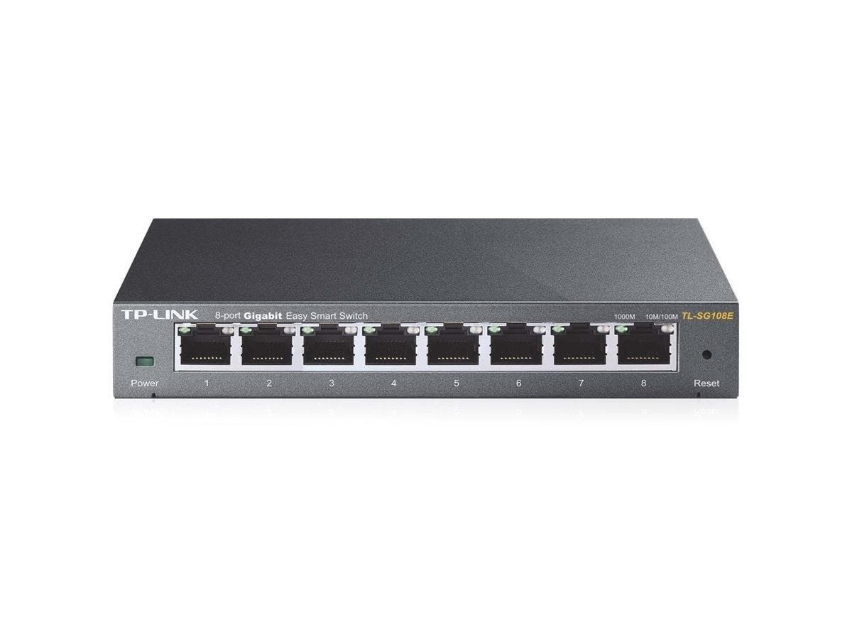 "TP-LINK TL-SG108E 8-Port Gigabit Easy Smart Switch, 8 10/100/1000Mbps RJ45 ports, MTU/Port/Tag-based VLAN, QoS, IGMP Snooping - 8 Ports - 8 x RJ-45 - 10/100/1000Base-T - Desktop, Rack-mountable""-Large-Image-1"