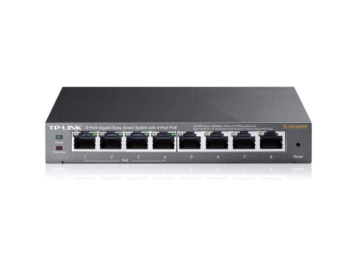 TP-LINK 8-Port Gigabit Easy Smart Switch with 4-Port PoE - 8 Ports - Manageable - 10/100/1000Base-T - 8 x Network - Twisted Pair - Gigabit Ethernet - 2 Layer Supported - Desktop