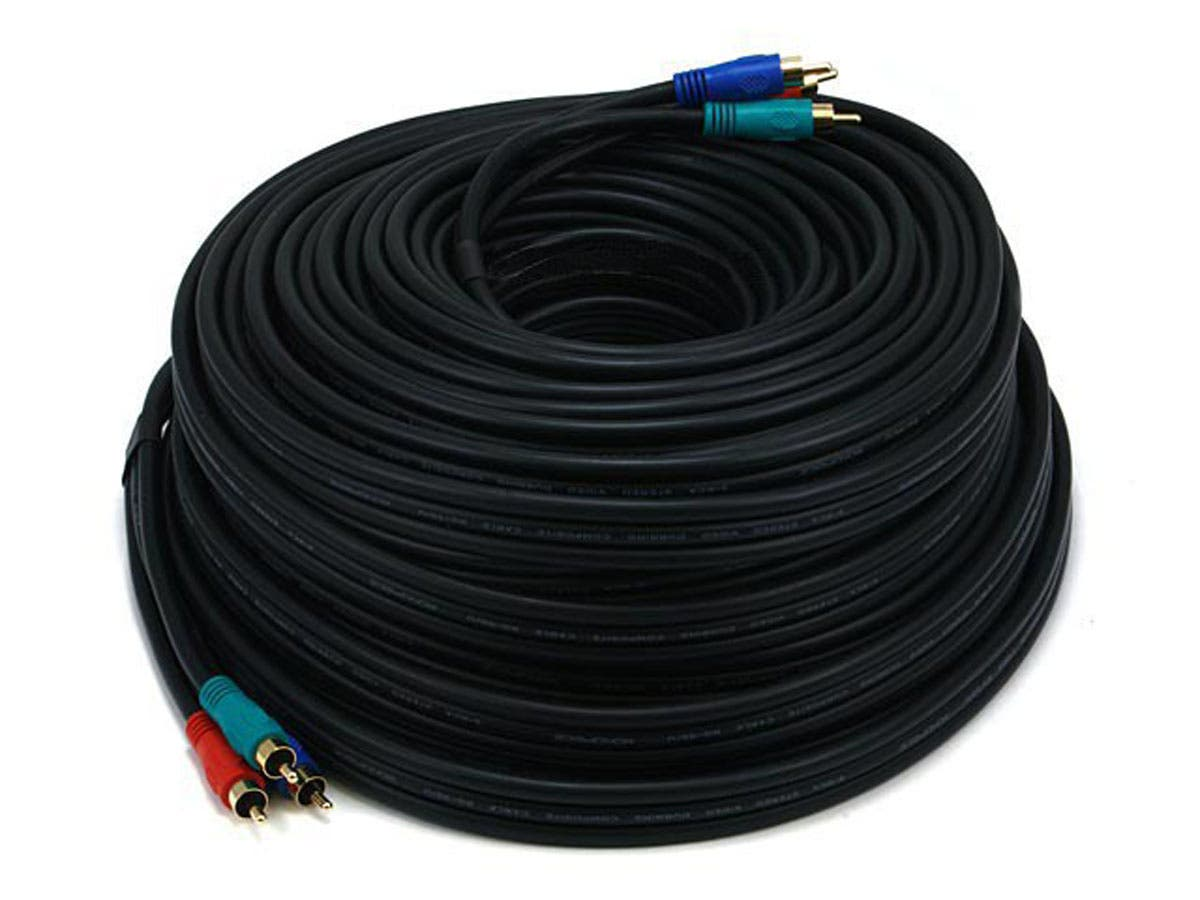 Monoprice 100ft 22AWG 3-RCA Component Video Coaxial Cable (RG-59/U) - Black-Large-Image-1