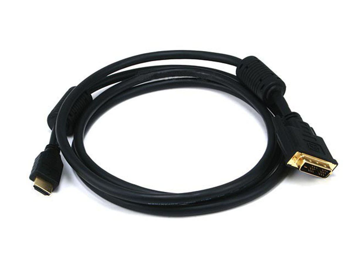 Monoprice 6ft 28AWG High Speed HDMI to DVI Adapter Cable with Ferrite Cores, Black-Large-Image-1