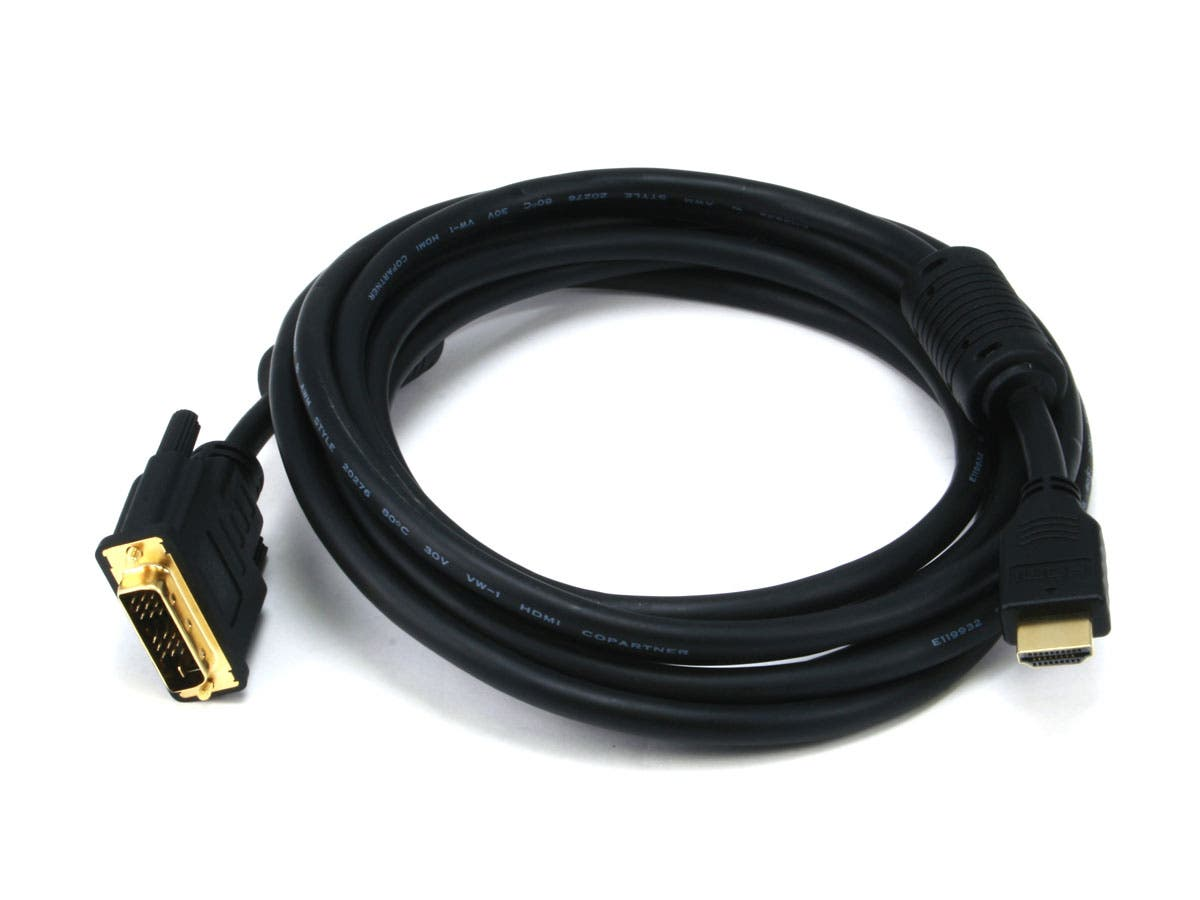 Monoprice 10ft 28AWG High Speed HDMI to DVI Adapter Cable with Ferrite Cores, Black-Large-Image-1
