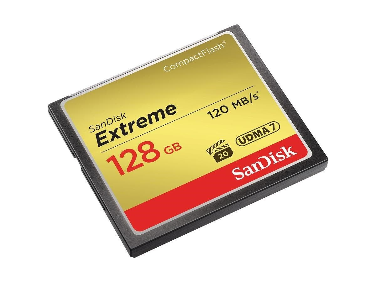 SanDisk Extreme 128 GB CompactFlash - 120 MB/s Read - 120 MB/s Write - 1 Card - 400x Memory Speed-Large-Image-1