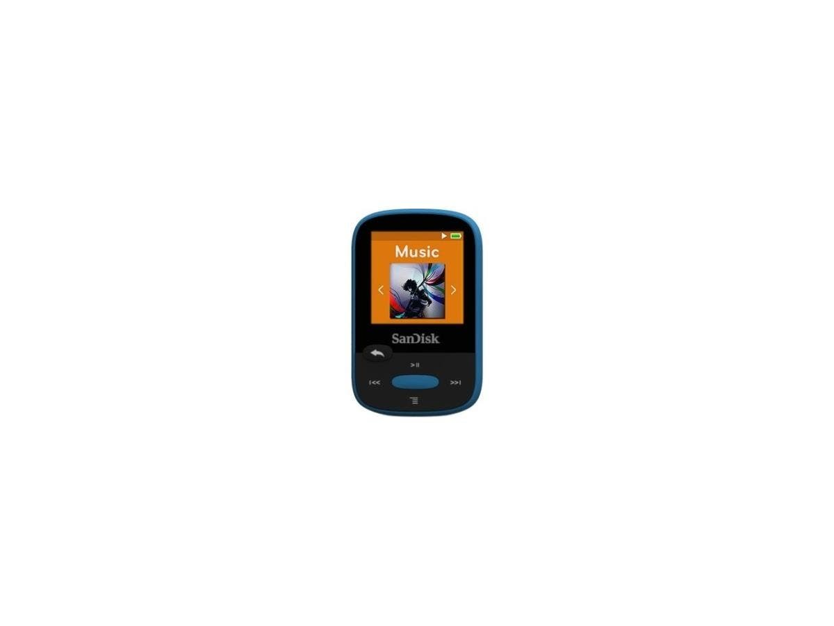 "SanDisk Clip Sport SDMX24-008G 8 GB Flash MP3 Player - Blue - FM Tuner - 1.4"" - microSDHC - MP3, AAC, Audible, FLAC, Ogg Vorbis, WAV, WMA - 25 Hour"