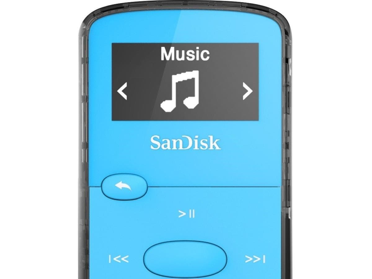 SanDisk SDMX26-008G-G46B 8 GB Flash MP3 Player - Blue - FM Tuner - Battery Built-in - microSD - AAC, MP3, WMA, WAV, Ogg Vorbis, Audible, FLAC - 18 Hour-Large-Image-1