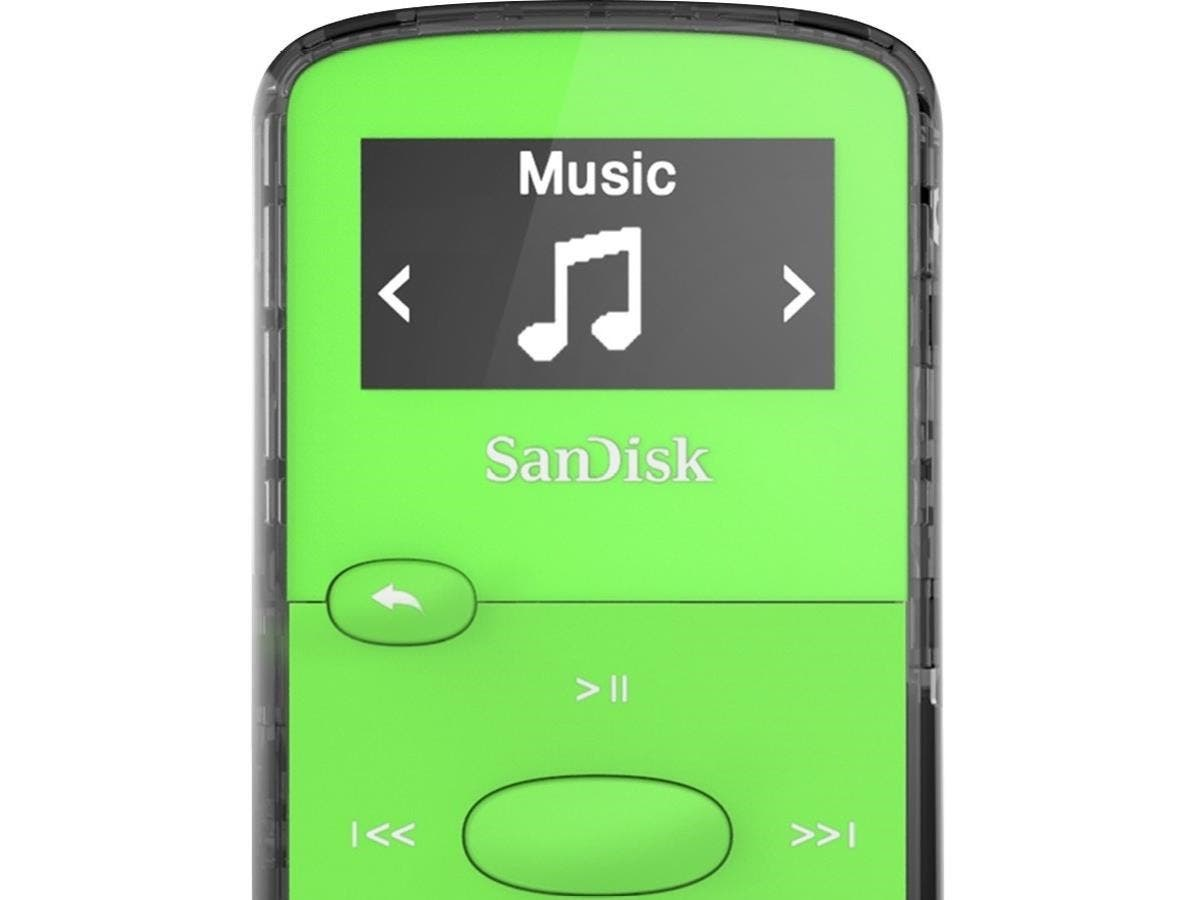 SanDisk SDMX26-008G-G46G 8 GB Flash MP3 Player - Green - FM Tuner - Battery Built-in - microSD - AAC, MP3, WMA, WAV, Ogg Vorbis, Audible, FLAC - 18 Hour-Large-Image-1