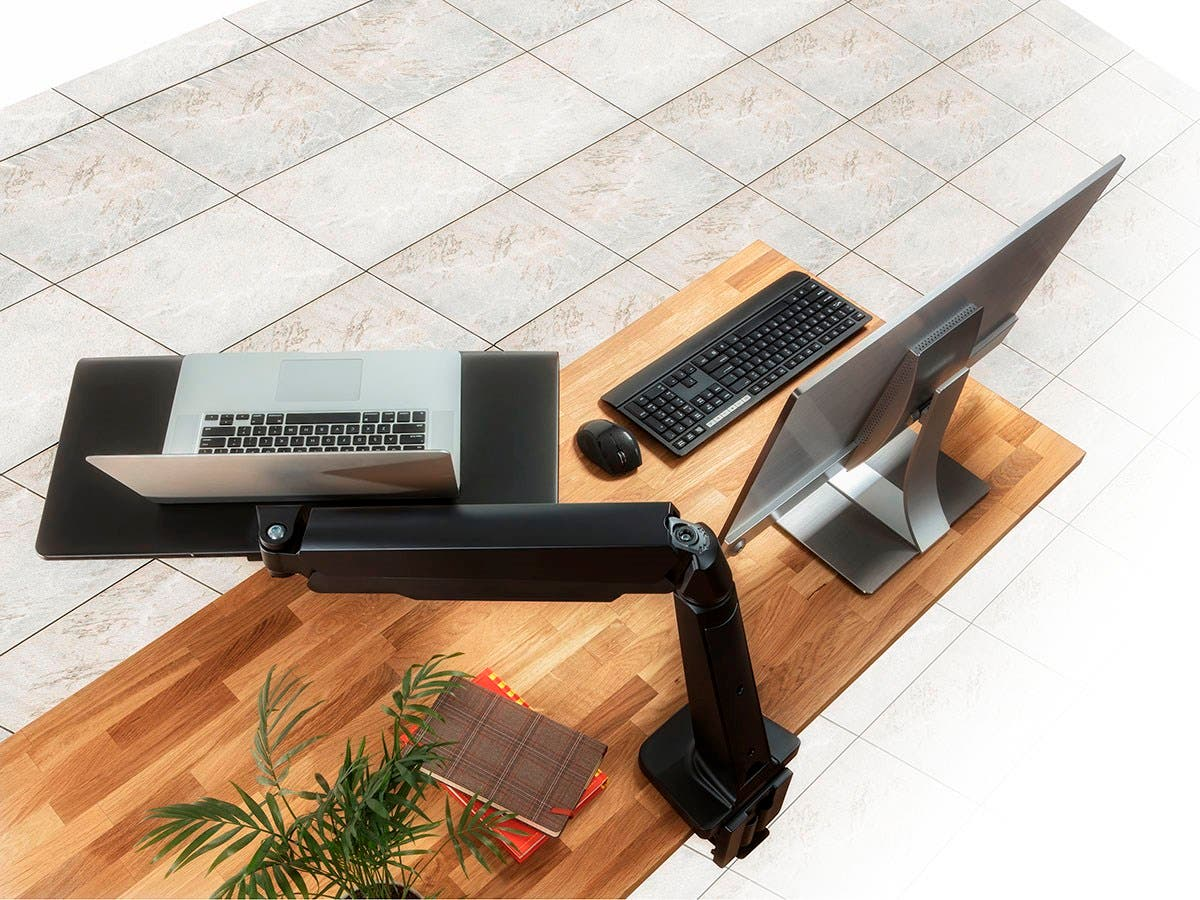 Workstream By Monoprice Height Adjustable Sit Stand Laptop Desk
