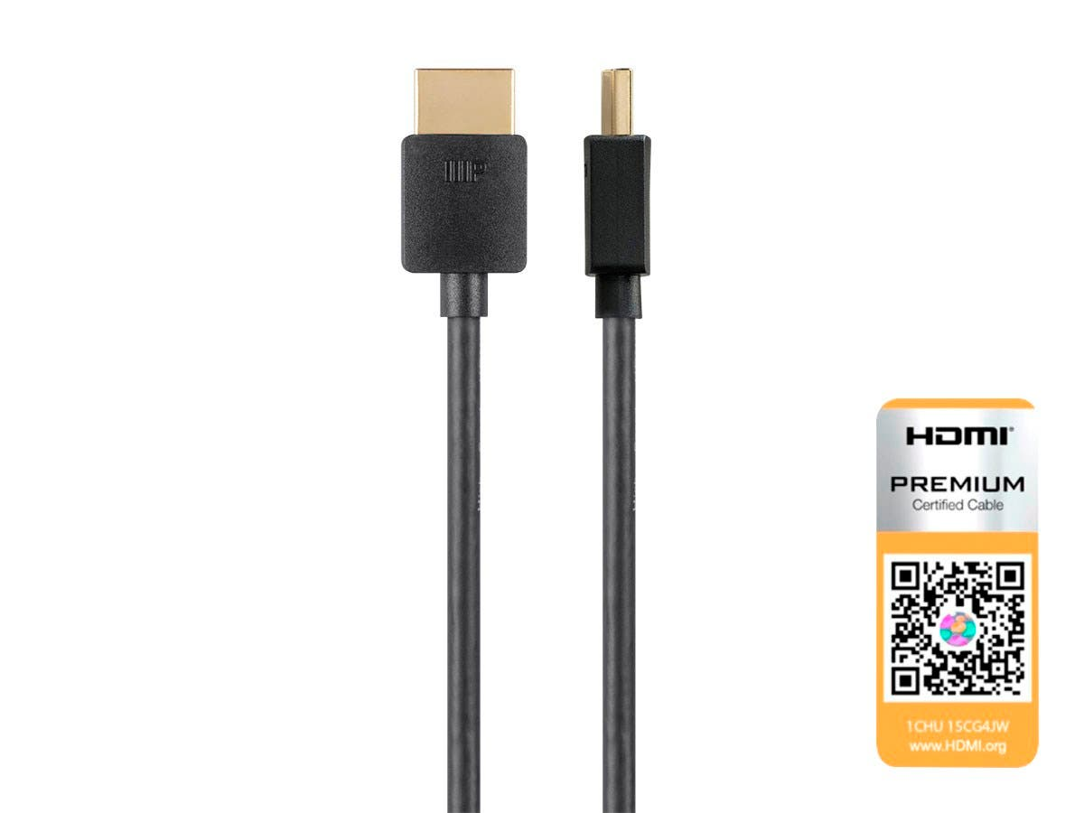 6 Feet 36AWG Monoprice Active High Speed HDMI Cable 10.2Gbps 4:2:0 YUV Black With HDMI Micro Connector Ultra Slim Series 4K@24Hz