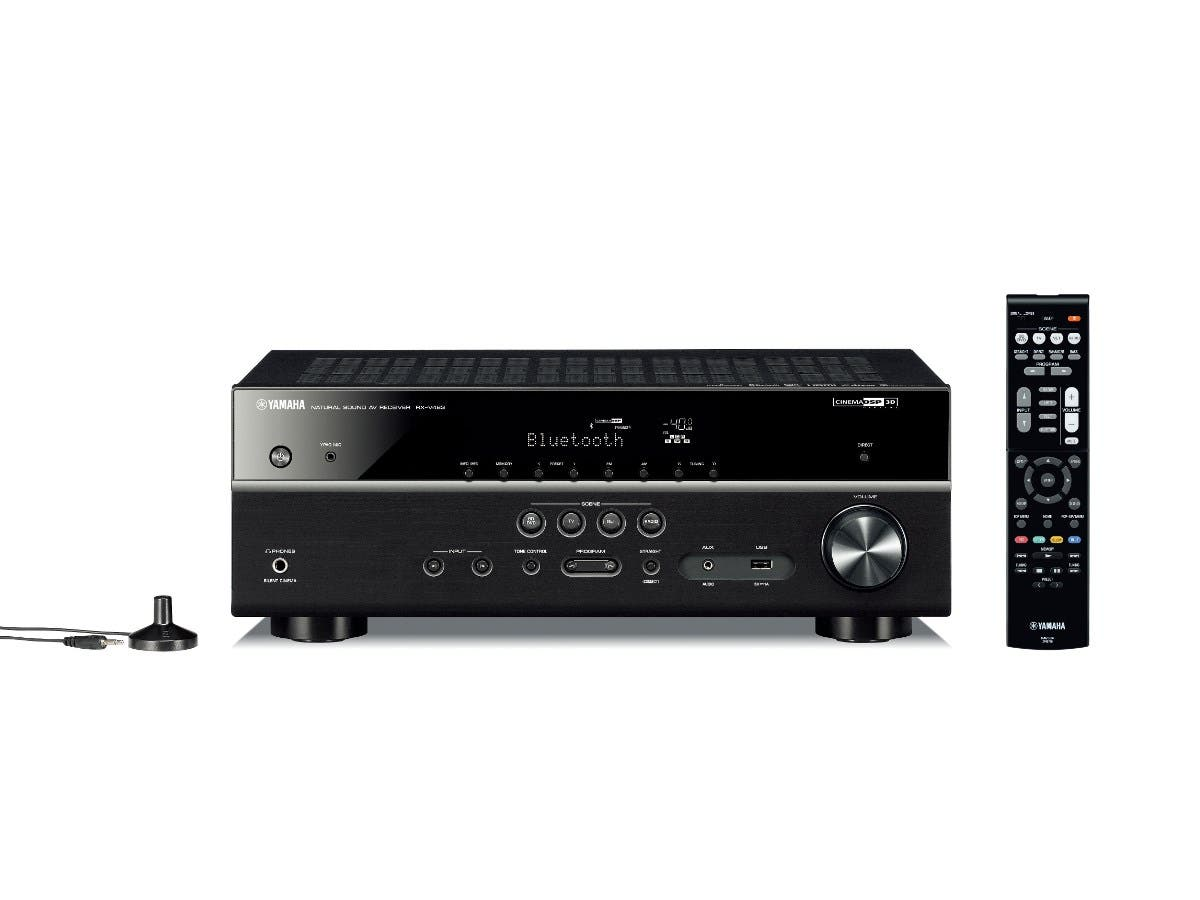 Yamaha RX-V483BL MusicCast 5.1CH Dolby True HD & DTS Master HD 4K Ultra HD pass-thru HDCP 2.2 HDR, Dolby Vision, Hybrid Log-Gamma, BT.2020 Home Theater Receiver - Black-Large-Image-1
