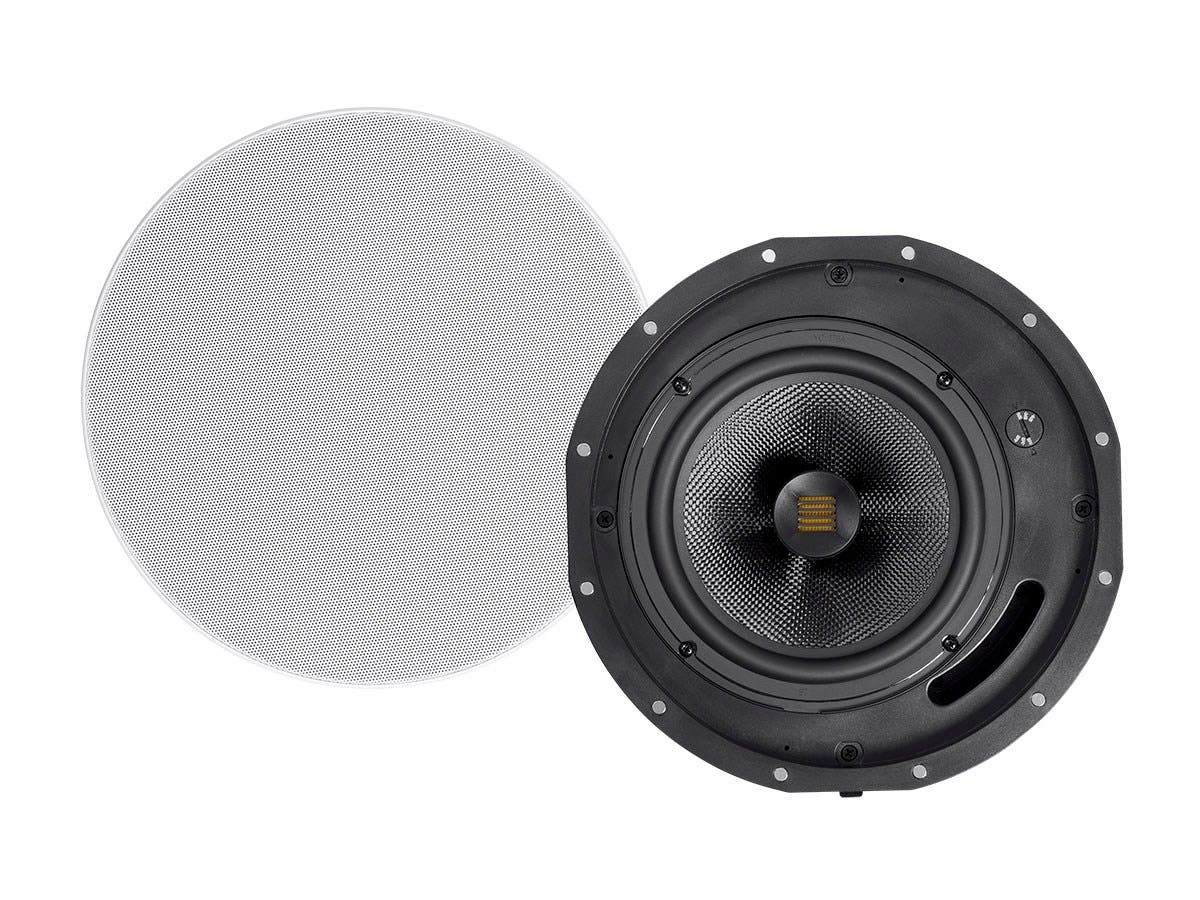 Monoprice Amber Ceiling Speakers 8-inch 2-way Carbon Fiber with Ribbon Tweeter (pair)-Large-Image-1