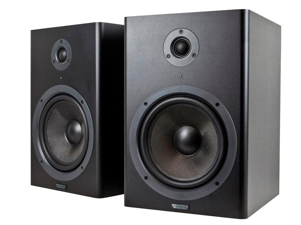 monoprice 8 inch powered studio multimedia monitor speakers pair open box. Black Bedroom Furniture Sets. Home Design Ideas