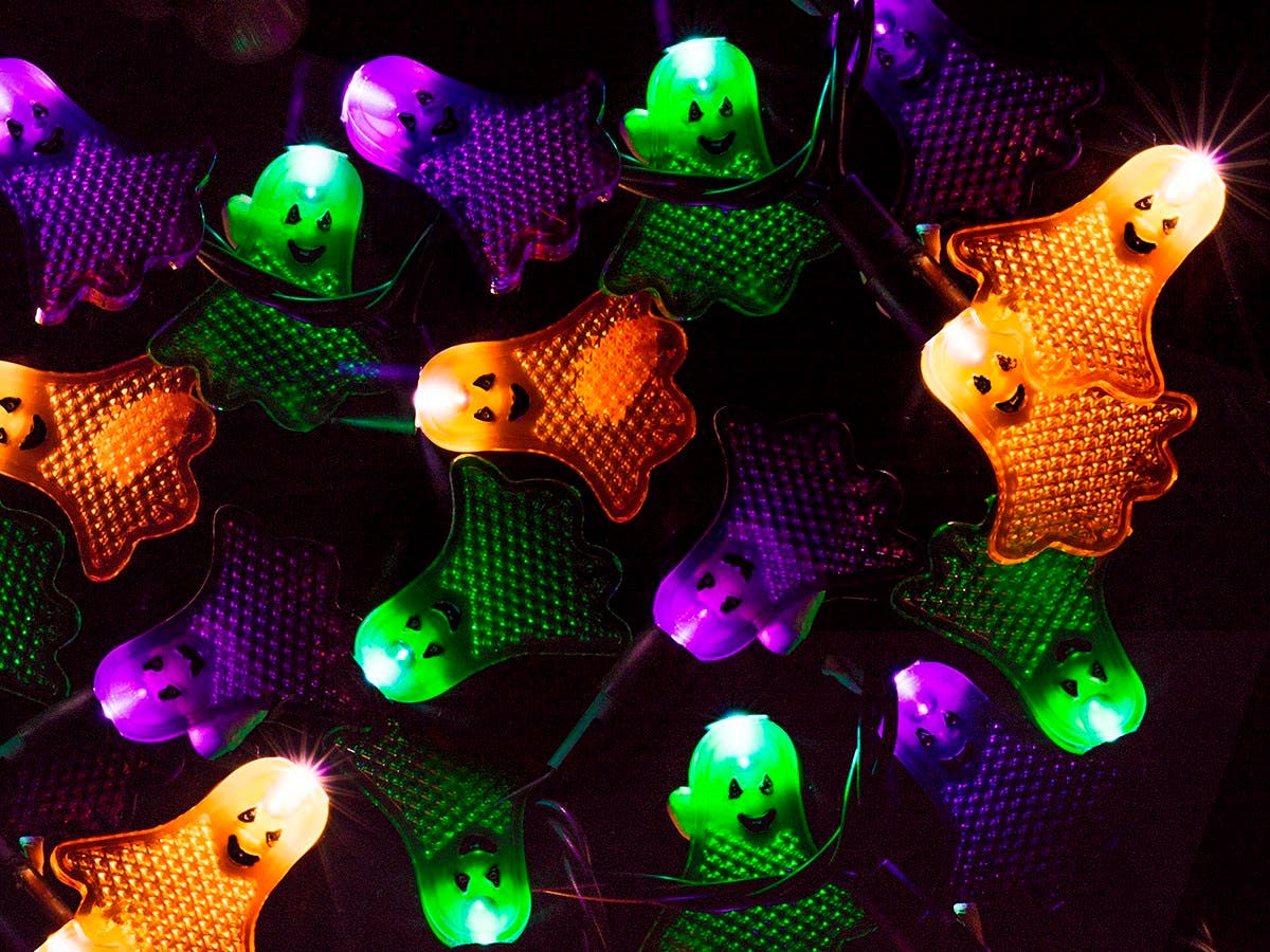 10 Count Flat Ghost Halloween String Light Multicolor 11.5 ft-Large-Image-1