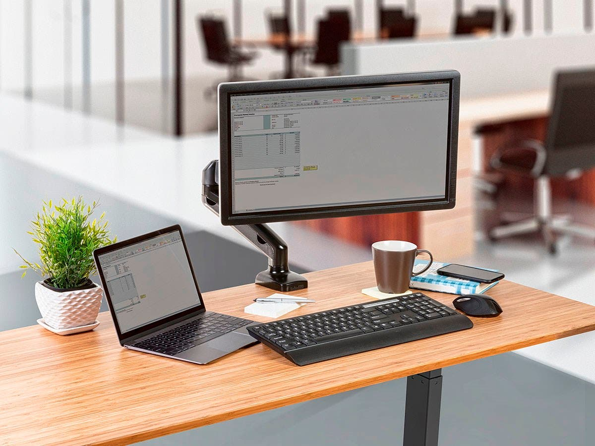 Workstream By Mono Single Monitor Adjule Gas Spring Desk Mount For Smaller Screens Up To