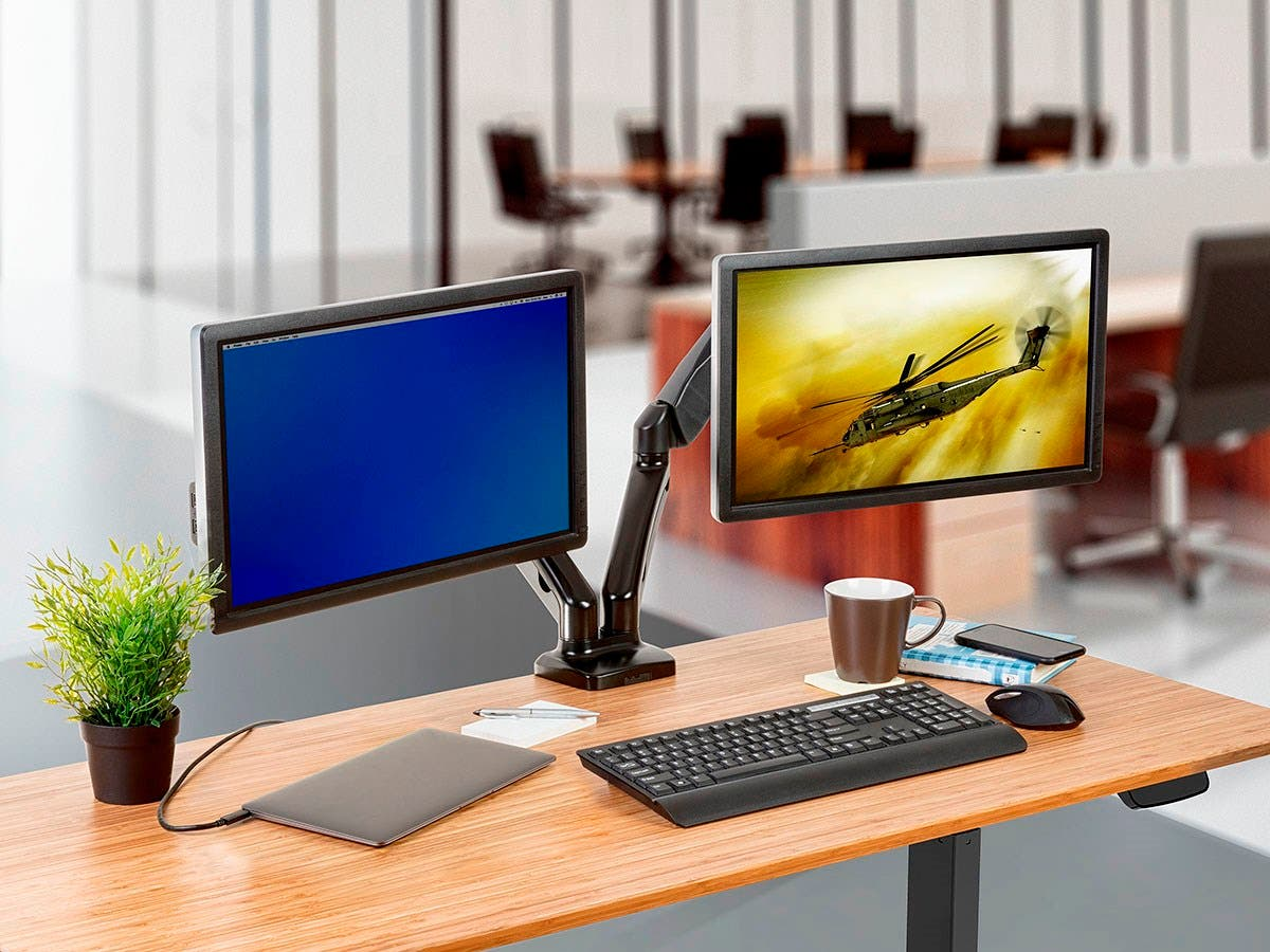 Workstream By Mono Dual Monitor Adjule Gas Spring Desk Mount For Smaller Screens Up To