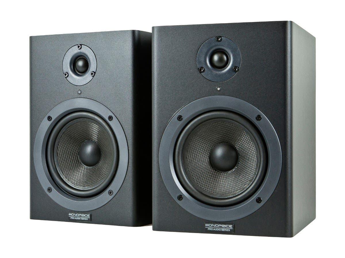 Monoprice 5-inch Powered Studio Multimedia Monitor Speakers (pair) (Open Box)-Large-Image-1