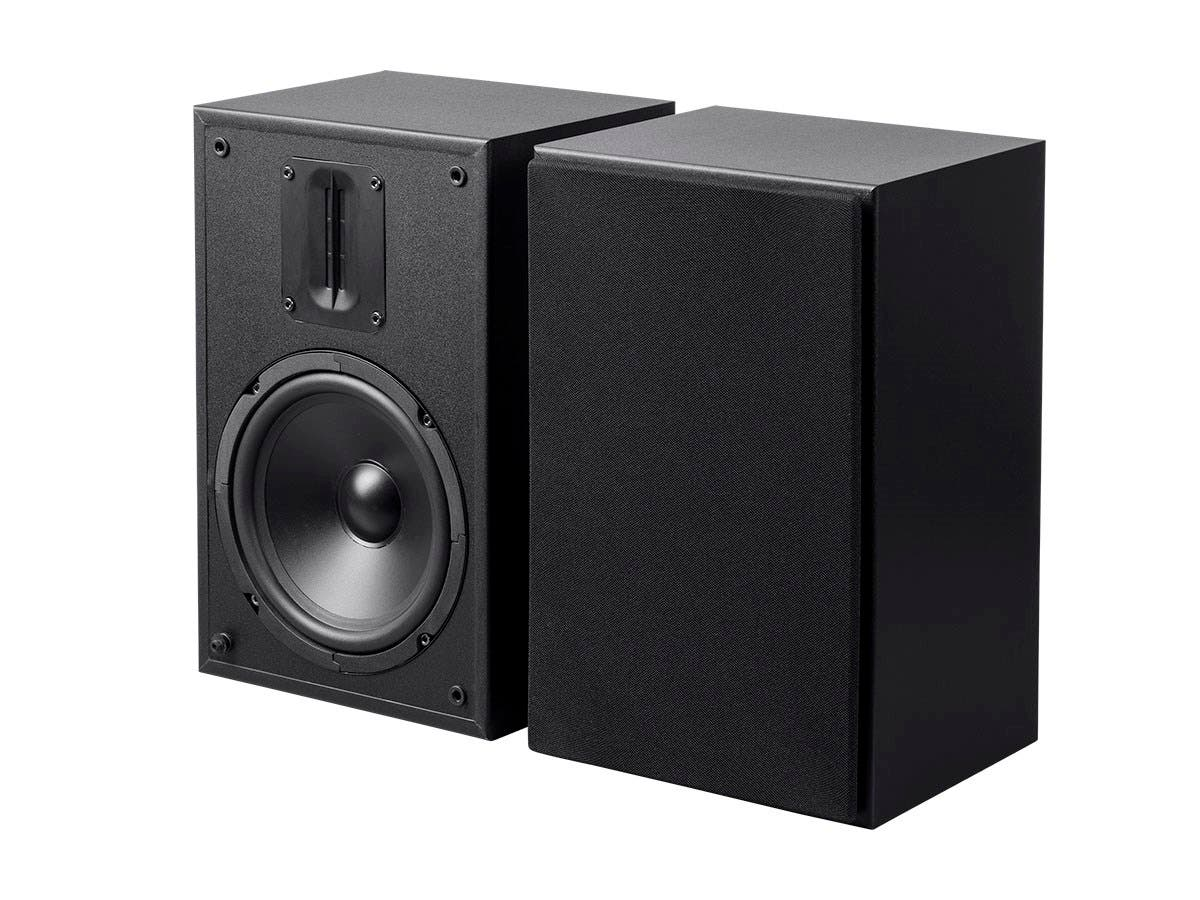 Monoprice MP-65RT 6.5in and Ribbon Tweeter 2-Way Bookshelf Speakers (Pair), Black-Large-Image-1