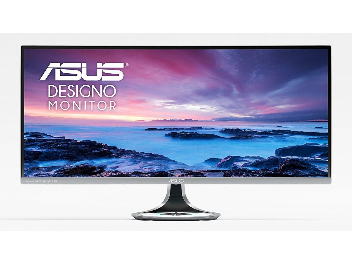 "ASUS Designo Curved MX34VQ 34"" UWQHD 100Hz DP HDMI Eye Care Frameless Monitor with Adaptive-Sync -Large-Image-1"