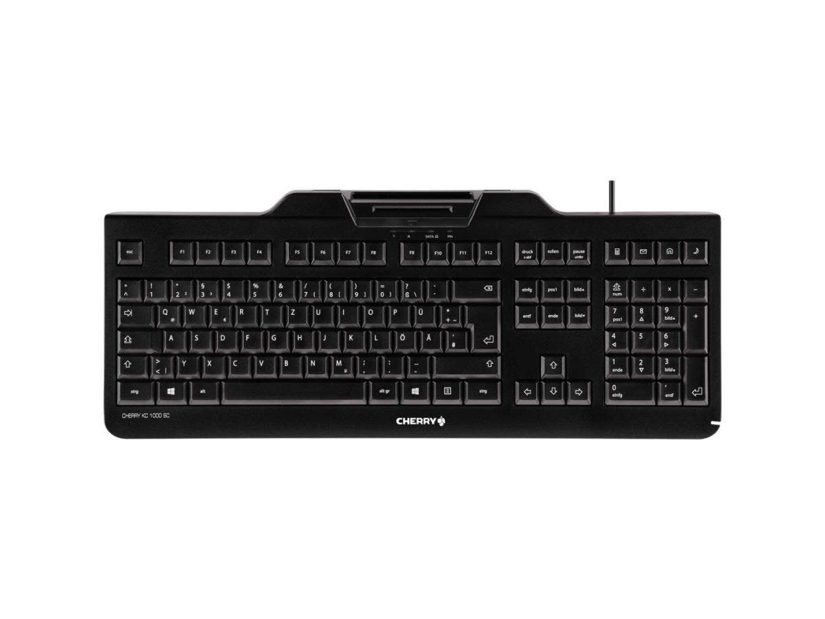 Cherry KC 1000 SC Keyboard - Cable Connectivity - White Box - USB Interface - 104 Key - English (US) - QWERTZ Keys Layout - Mechanical - Black-Large-Image-1