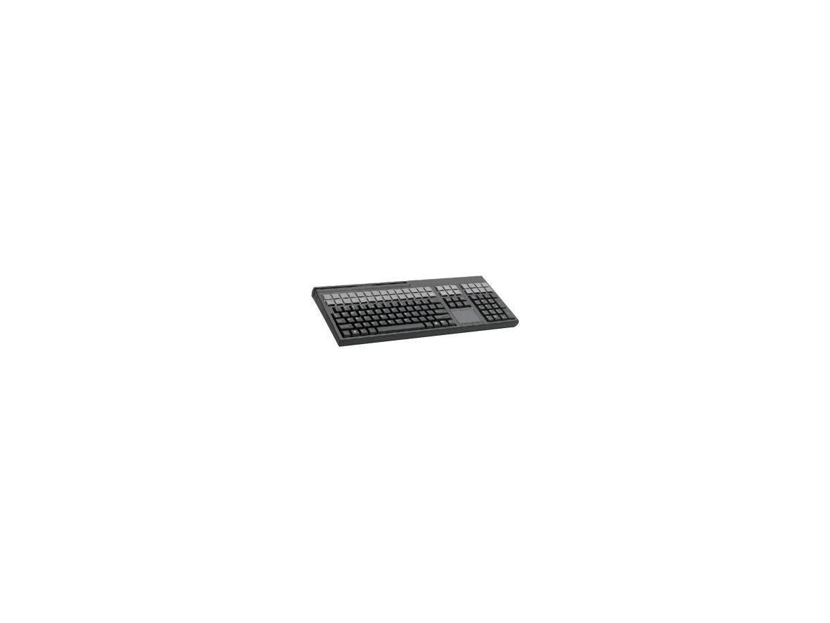 Cherry LPOS G86-71411 POS Keyboard - 169 Keys - QWERTY Layout - 42 Relegendable Keys - Magnetic Stripe Reader - USB - Black