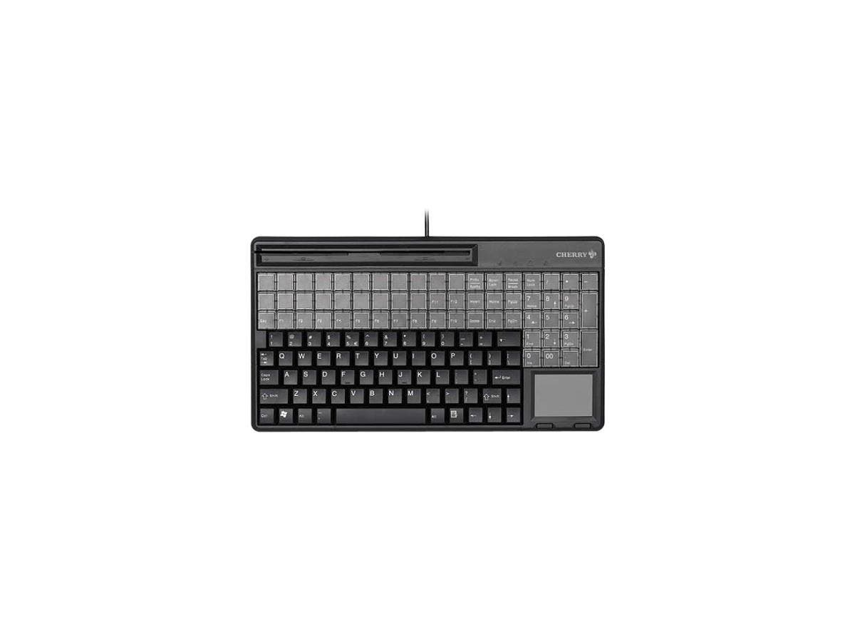 Cherry SPOS QWERTY Keyboard - 143 Keys - QWERTY Layout - 60 Relegendable Keys - Magnetic Stripe Reader - USB - Black