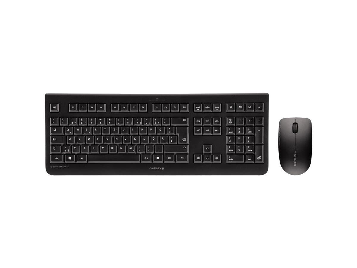 Cherry DW 3000 Keyboard & Mouse - USB Wireless RF Keyboard - English (US) - Black - USB Wireless RF Mouse - Optical - 1200 dpi - 3 Button - Scroll Wheel - Black - Symmetrical-Large-Image-1