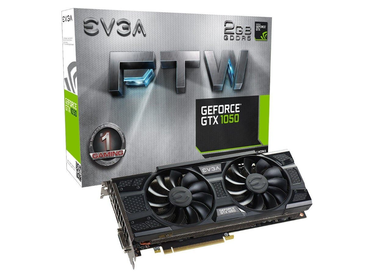 EVGA GeForce GTX 1050 FTW Gaming Graphic Cards ACX 3.0, 2GB GDDR5, DX12 OSD Support (PXOC) Graphics Card 02G-P4-6157-KR -Large-Image-1