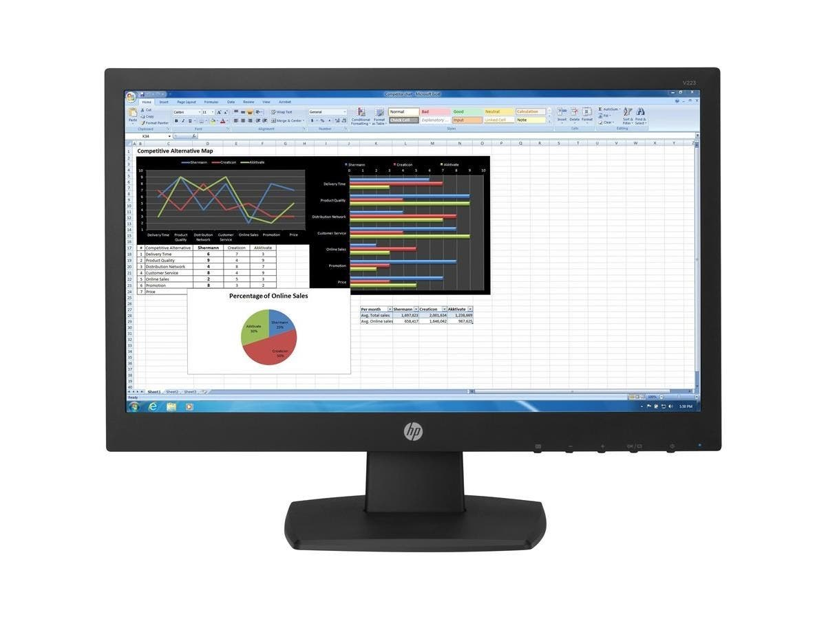 "HP Business V223 21.5"" LED LCD Monitor - 16:9 - 5 ms - 1920 x 1080 - 200 Nit - 5,000,000:1 - Full HD - DVI - VGA - 25 W - ENERGY STAR, SmartWay, CECP, China Energy Label (CEL), MEPS, TÜV"